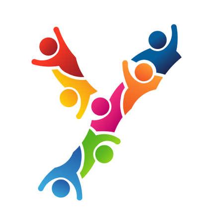 business team: Vector Alphabet Teamwork Letter Y