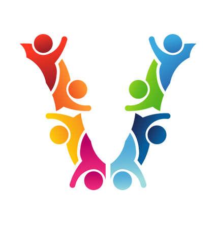 zusammenarbeit: Vector Alphabet Buchstabe V Teamwork