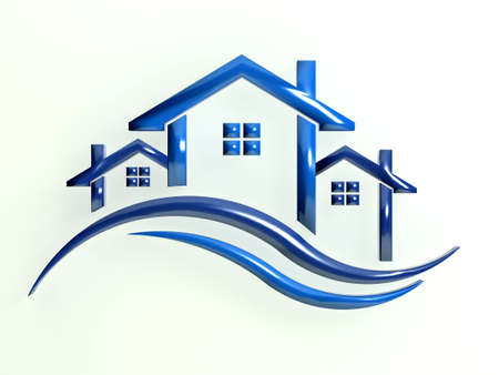 blue roof: Blue icon Houses with waves