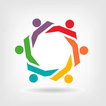 mensen groep: Vector Teamwork Hexagon groep mensen Stock Illustratie