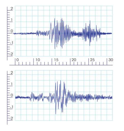 землетрясение: Графики Векторный сейсмической волны