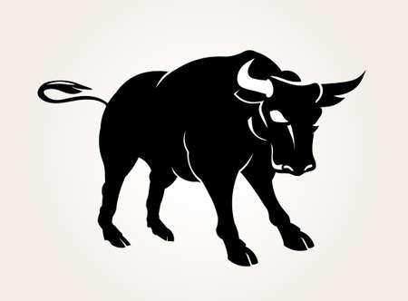 Vector Bull power pose  Threat behavior illustration Illustration