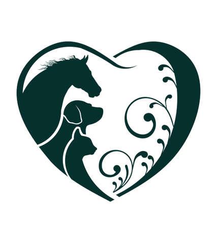 silhouette chat: Vecteur de cheval, de chien et de chat coeur d'amour