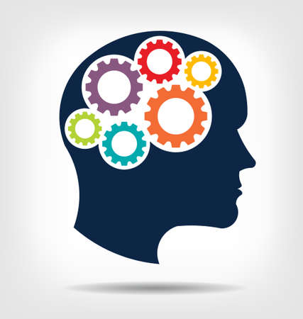 ヘッドギヤ思考の心このアイコンの抽象化として機能のチームワークの心のアイデア作業だと思う, メモリのトレーニング、脳システム、心理学, 知  イラスト・ベクター素材