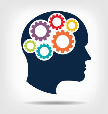 Hoofd tandwielen Abstractie van denkende geest Dit pictogram dient als idee van teamwork geest, werken denken, geheugentraining, hersenen systeem, psychologie, kennis Vector Illustratie
