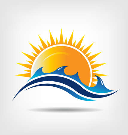 Sea and sun season.  Vector icon  Abstraction of summer season. This icon serves as idea of summer time,beach relax ,sunny ocean, waves beach, surf adventure, sunset day.  Иллюстрация