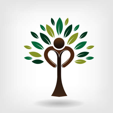 People tree Heart trunk with leaves Vector
