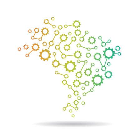 チームワーク国のためブラジル ギア マップ コンセプト