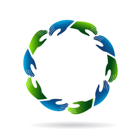 Hands reaching hands icon Vector