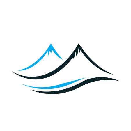 Mountains with steep peaks icon
