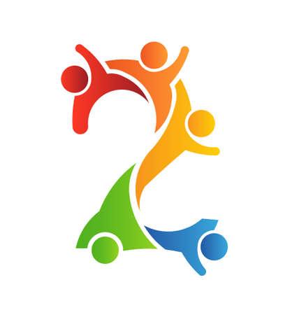number of people: Number 2 Teamwork icon Illustration