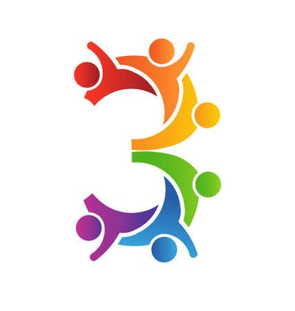 number of people: Number 3 Teamwork icon