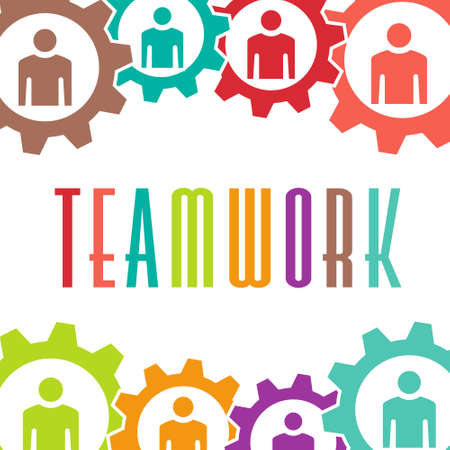 Teamwork gear people background Stock Vector - 28023915