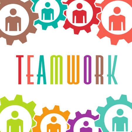 Teamwork gear people background Stock Vector - 28023915