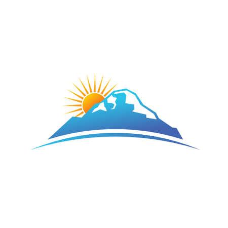 Mountain and sun in horizon  Illustration