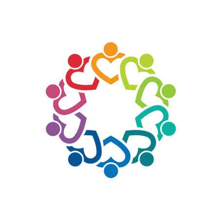 gruppe von menschen: Herz-Team 10 Bild Konzept der Pflege-Gruppe, Volksgemeinschaft, Illustration