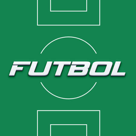 futbol: Soccer field in spanish word image  Concept of competition, card sign Stock Photo