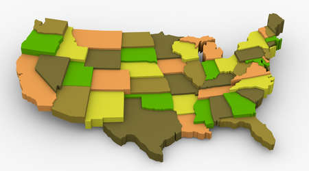 USA earth color map image  Concept color for country, city, popular,nature  3D map in levels photo