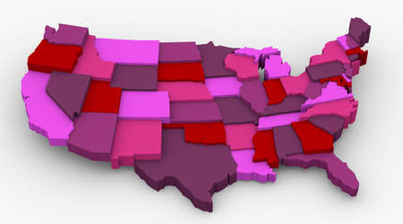 state of wisconsin: USA reddish map image  Concept color for passion, love, lucky, warning 3D map in levels Stock Photo