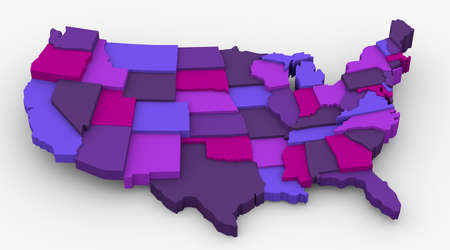 supremacy: USA purple map image  Concept color for royalty, spring, supremacy, royal  3D map in levels Stock Photo