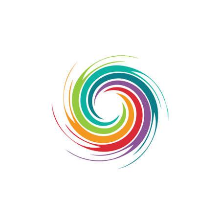태풍, 회오리 바람, 토네이도의 추상 다채로운 소용돌이 모양의 이미지 개념 일러스트
