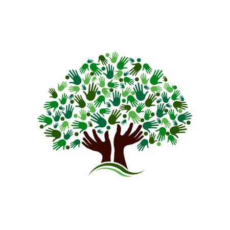 famiglia: Albero di collegamento Amicizia immagine Mani sull'albero mano Vettoriali