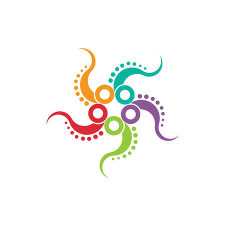 calamar: Imagen Pulpo concepto de multitarea un pulpo estilizado en un esquema de color agradable