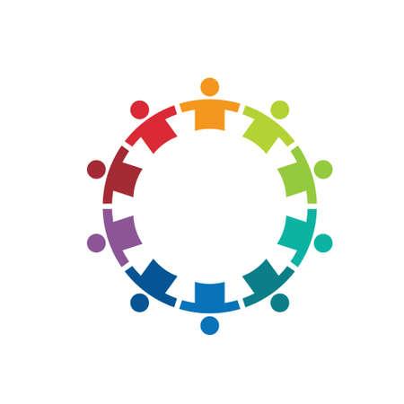 Equipo en un círculo de imagen 10 - Concepto de Unión, fuerte, grupo de niños, los niños, la inmigración Foto de archivo - 28915077