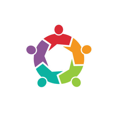 Teamwork Call out 5 people image  Concept of information,  Vector