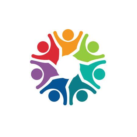 optimistic: Teamwork Optimistic group of 7 people image