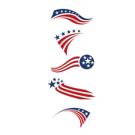 USA bandiera stelle e strisce elementi di design Vettoriali