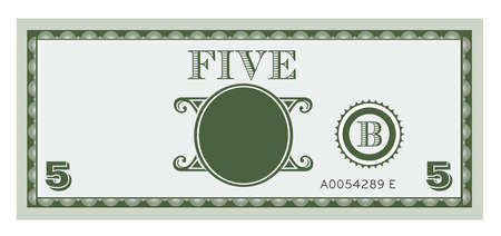 Five money bill image  With space to add your text, information and image Vector