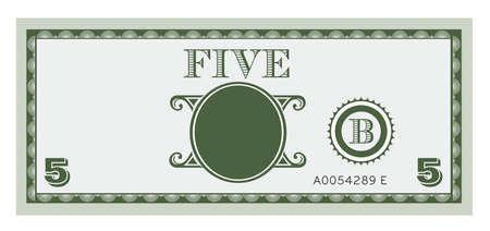 Vijf geld factuur image Met ruimte voor uw tekst, informatie en afbeeldingen toe te voegen Stock Illustratie