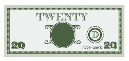 Twintig geld afbeelding wetsvoorstel Met ruimte voor uw tekst, informatie en afbeeldingen toe te voegen Stock Illustratie