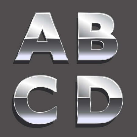 Platinum letters A, B, C, D   Concept of luxury, status, wealth  Vector icons