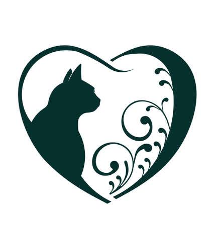 silueta de gato: Gato Corazón Veterinario amor Abstracción de cuidado de los animales Este icono sirve como idea de las mascotas amable, visita veterinaria, bienestar animal, rescate de animales, criador de animales Vectores