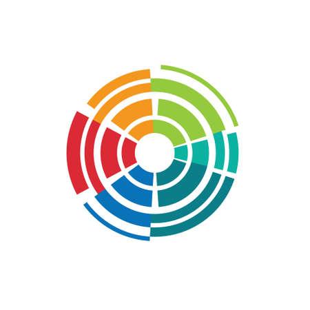 Abstracte kleurrijke cameralens image-style 1 Concept voor lenstechnologie, sluitertijd, fotografie doelwit Vector pictogram Stock Illustratie