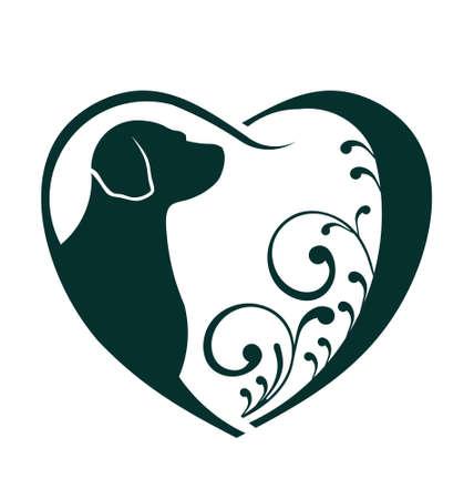 수의사 심장의 개는이 아이콘은 친절한 애완 동물, 수의사 사업, 동물 복지, 동물 구조, 동물 사육자의 생각 역할을 동물 관리의 추상화를 사랑 일러스트