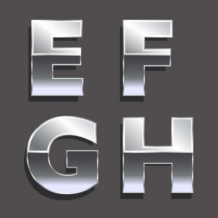 platinum: Platinum letters E, F, G, H   Concept of luxury, status, wealth  Vector icons
