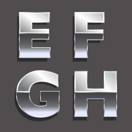 Platinum letters E, F, G, H Concept van luxe, de status, rijkdom Vector iconen