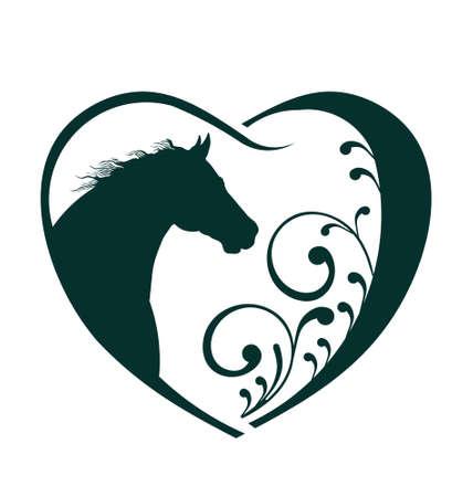 siluetas de animales: Veterinario del coraz�n del amor del caballo Abstracci�n de cuidado de los animales Este icono sirve como idea de las mascotas amable, visita veterinaria, bienestar animal, rescate de animales, criador de animales Vectores