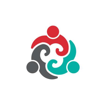 mensen groep: Team People Group 3 beeld van het concept van de vereniging, partnerschap, sociale leven Vector pictogram