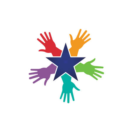 hand touch: Hands around a star image  Vector icon