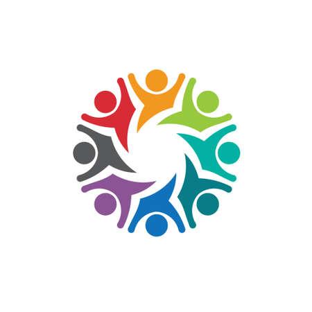 gruppe von menschen: Gl�ckliches Team Gruppe Personen 8 Bild Konzept der Emotionen, spannende, spielerische Vector-Symbol