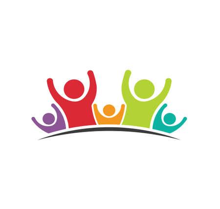 trabajo en equipo: Trabajo en equipo Cinco amigos Imagen del concepto de grupo de personas, felices, la victoria