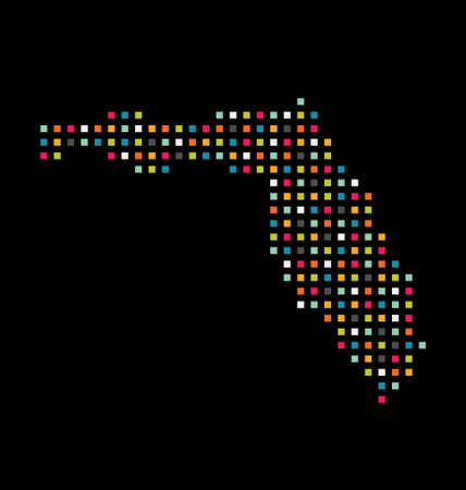Florida color square dot map image  Concept of modernism, technology Vector
