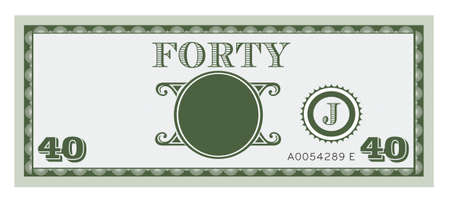 40: Forty money bill image  With space to add your text, information  Illustration