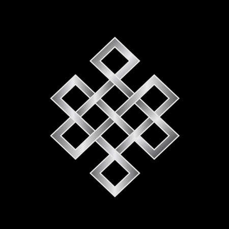 Platinum Endless knot  Concept of Karma, Time, spirituality  Иллюстрация