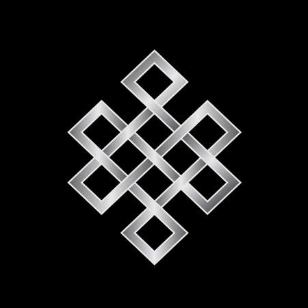 Platinum Endless knot  Concept of Karma, Time, spirituality  Illustration