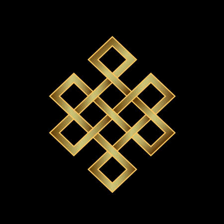 Golden Endless knot  Concept of Karma, Time, spirituality Фото со стока - 29232405